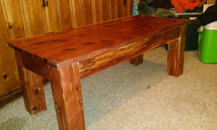 """Red Cedar coffee table built for a customer 36""""L 24""""D 18""""H. We used true 1"""" thick 1x6's for the top, 1x4 aprons and 4x4 legs. It was finished with Minwax polyurethane."""
