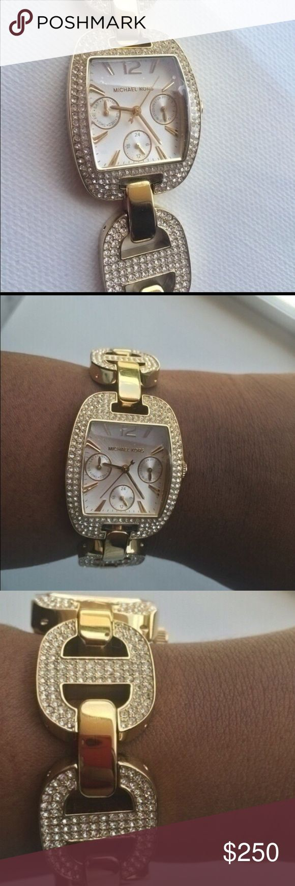 Michael Kors Glitz Watch NWOT !!! Pave crystal encrusted gold tone stainless steel. Chronograph with a day and date calendar. 28 millimeter case with an analog display. Emma watch bezel   The tag isn't attached but the plastic is still covering the face and back. Brand new authentic with the box and booklet. 100% Authentic❌❌No Trades‼️ Michael Kors Accessories Watches