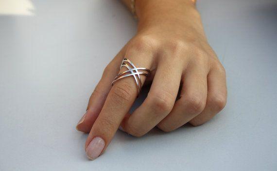 X anneau / Criss Cross Ring / or 14 K remplir X par HappyWayJewelry