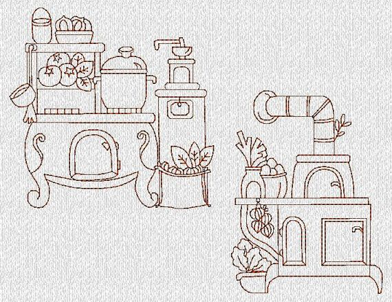 INSTANT DOWNLOAD Vintage Kitchen Stoves Redwork Machine Embroidery Designs