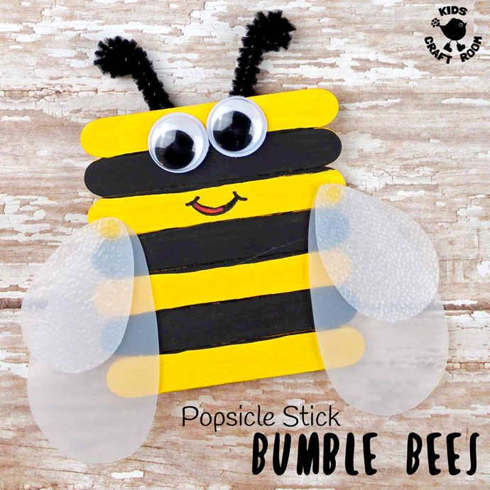 Popsicle Stick Bumble Bee Craft Popsicle Stick Crafts For Kids
