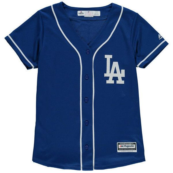 Women's Los Angeles Dodgers Majestic Royal Alternate Cool Base Jersey ($80) ❤ liked on Polyvore featuring tops, blue jersey, dodgers jersey, jersey top, blue top and mlb jerseys