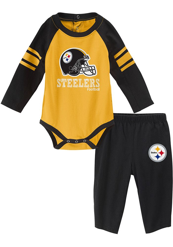 best service 79984 8657d Pittsburgh Steelers Baby Black Future Starter One Piece ...