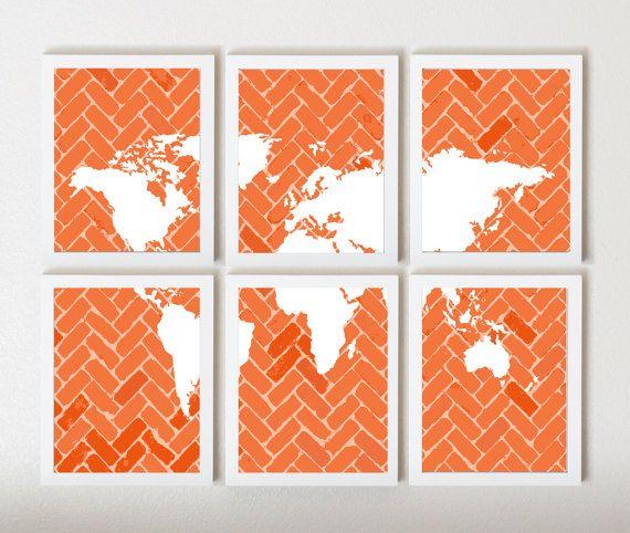 World Map on Chevron In Orange in 6 Pieces by ThirdFloorDesign, $55.00