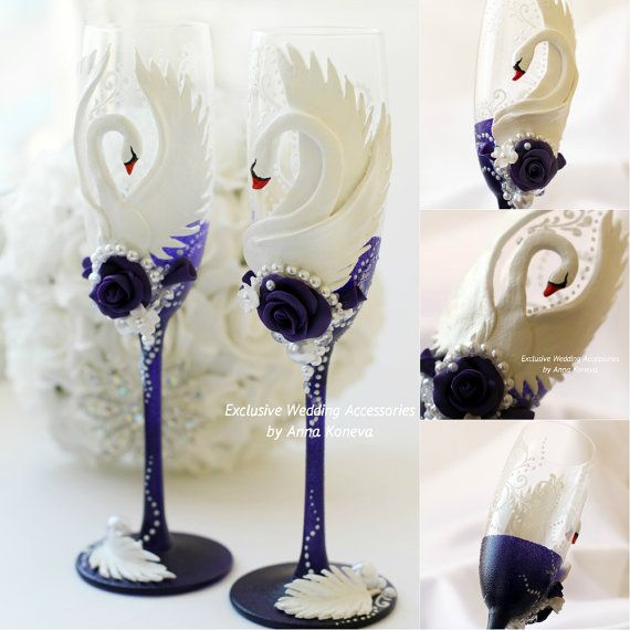 Hey, I found this really awesome Etsy listing at https://www.etsy.com/listing/228716896/champagne-flutes-white-purple-exclusive