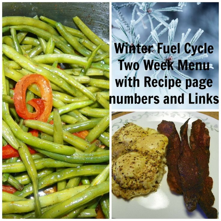 Beatitudes, Blessings  Broadcasts: Two Week Fuel Cycle Menu with Recipes