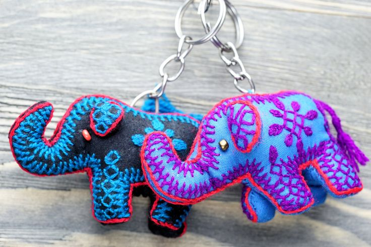 Elephant miniature keychain,Tribal Elephant keychain,Handmade keychain,Colorful keychain,Elephant figure keychain,Free shipping,Gift for her by ZsTribalTreasures on Etsy