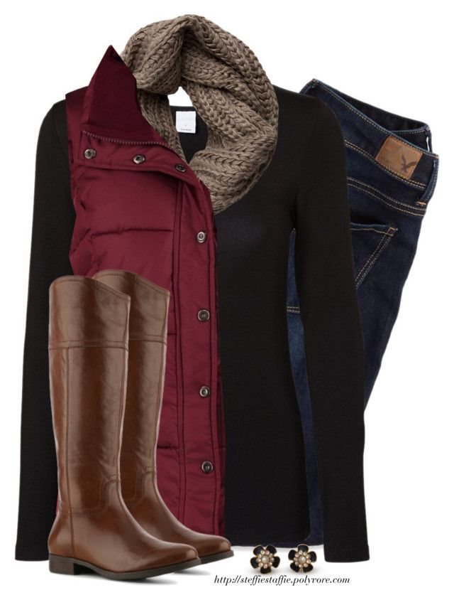 Red Vest, Taupe knit scarf & Riding boots by steffiestaffie on Polyvore featuring polyvore, fashion, style, Vero Moda, Anna Field, American Eagle Outfitters, Audrey Brooke and Pieces