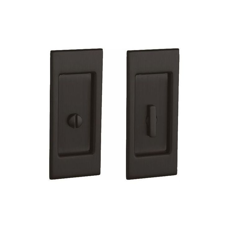 Baldwin PD006.PRIV Santa Monica Privacy Pocket Door Set with Door Pull from the Oil Rubbed Bronze Pocket Door Lock Privacy