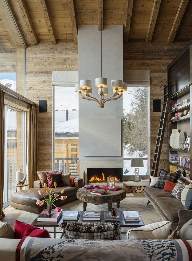 Rustic Living Room By Markham Roberts Inc By: Modern High End Swiss Style Homes Interior