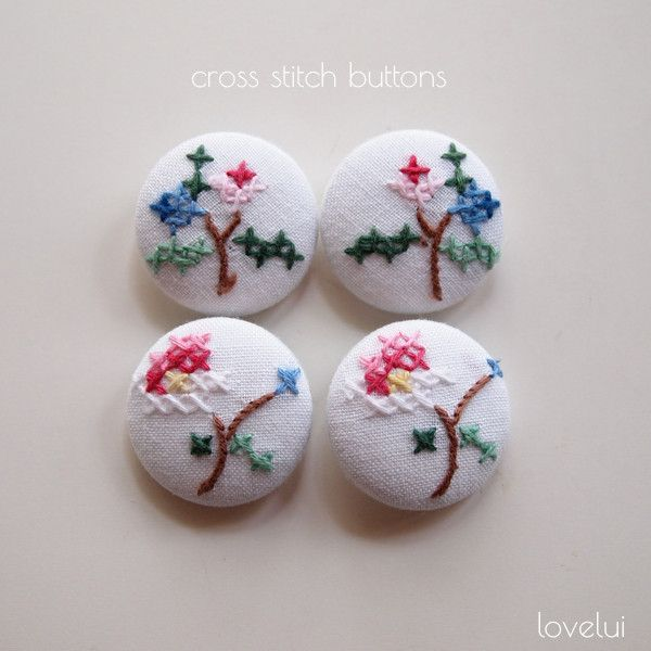 Cross Stitch Buttons Set of 4 | lovelui