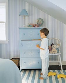 Weather-Coded Bureau. Each drawer holds clothes for different weather!: Bureaus, Kids Dressers, Decorating Ideas, Room Ideas, Bureau Drawers, Dresser Drawers, Boys Dresser, Kids Rooms