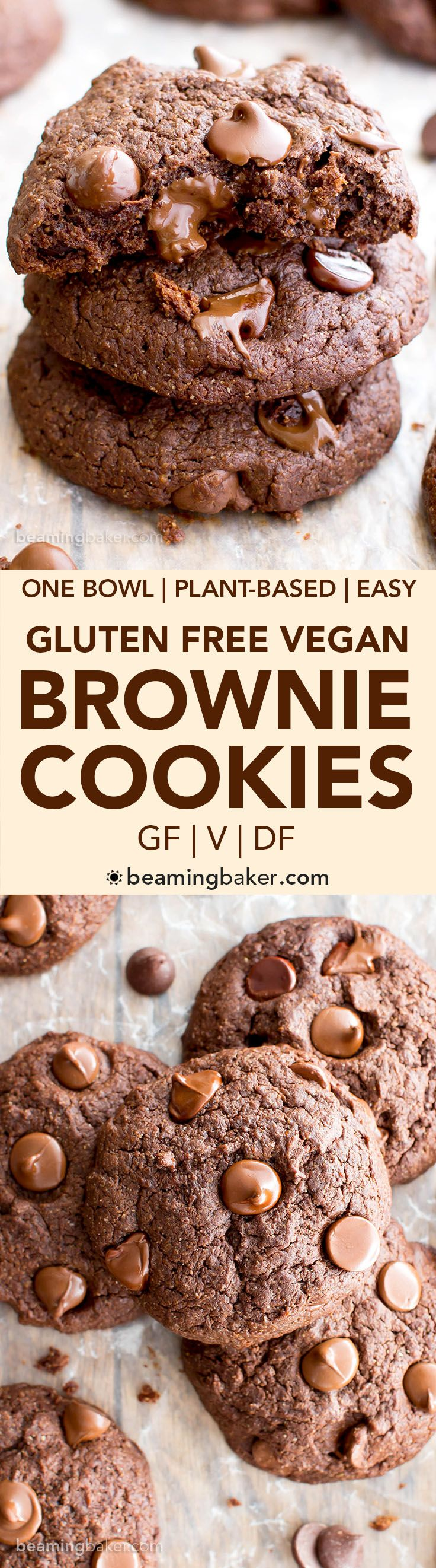 Vegan Chocolate Brownie Cookies (Gluten Free, Oat Flour, Vegan, Dairy-Free, One Bowl) - Beaming Baker
