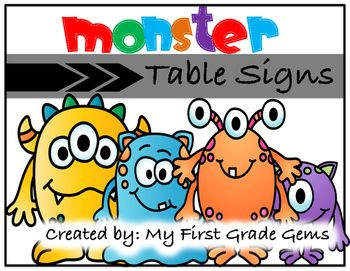 Label your classroom tables with these monster themed signs!I have included 6 signs with each sign featuring a different classroom…
