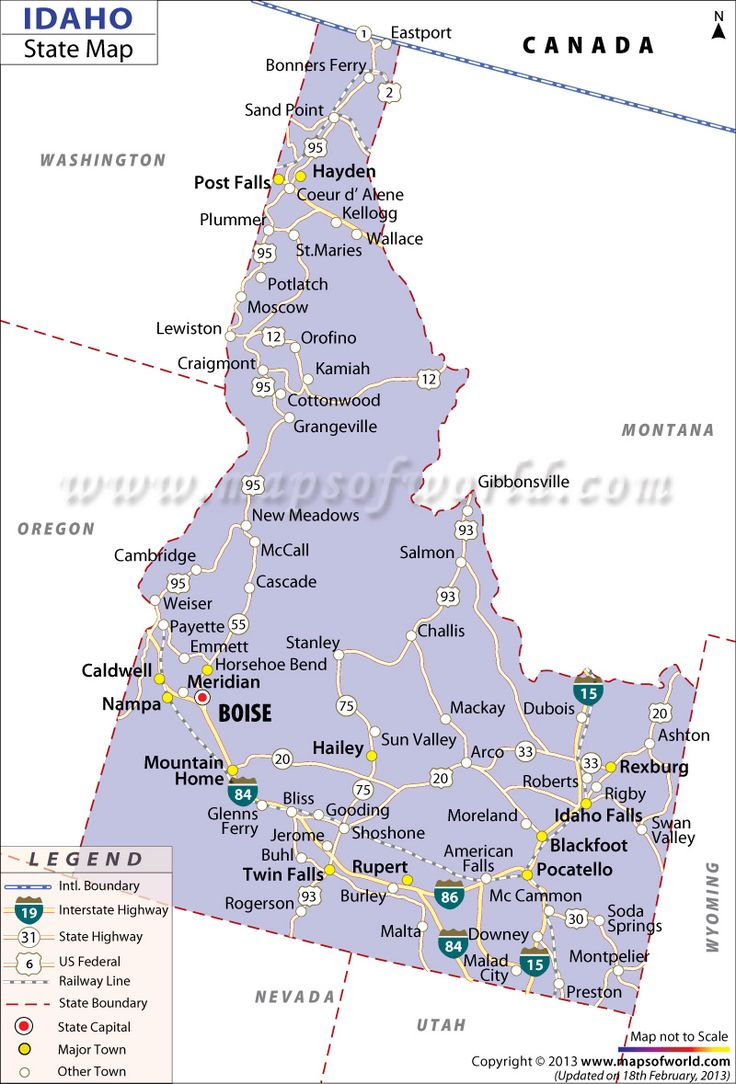 Detailed State Map Of Idaho Highlighting The State Capital Major Cities Railways Road Networks In The State The Idaho State Map Also Shows The