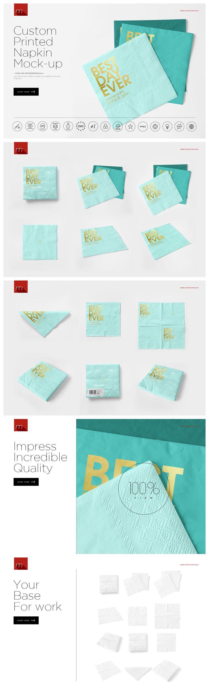 Custom Printed Napkin Mock-up https://creativemarket.com/mesmeriseme.pro/419941-Custom-Printed-Napkin-Mock-up?u=MeeraG | #mockup #mock-up #template #wedding #napkin #printed #napkins #cutlery #mat #placemat #placemats #paper #custom