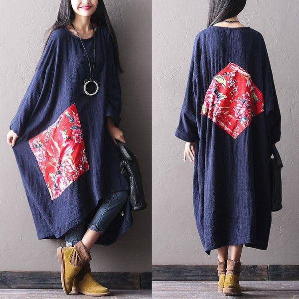 Hiver femme longue robe de coton amples - Tkdress - 1