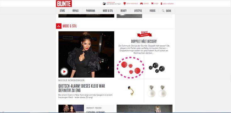 Look what we found on the Bunte online website. Our Beth earrings made of stingray leather in coral from a cuckoo moment...