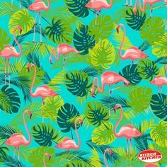 Tafelzeil Flamingo - Kitsch kitchen tafelzeil met zomerse print met flamingo's in hippe kleuren. Het tafelzeil is gemakkelijk afwasbaar met een vochtige doek. Kies de gewenste lengte in het menu en we snijden het voor u op maat.