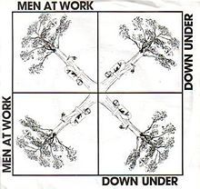 Down Under (song)  A truly Massive Worlwide Hit for Men At Work reaching #1 not only in OZ but also the UK,US,Ireland,Denmark, Canada & Switzerland plus a major top 10 hit in many other Countries.  It has also become a popular and patriotic song in Australia.