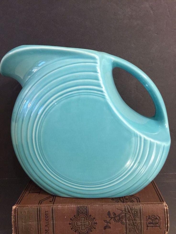 Fiesta Ware Disk Pitcher Aqua Homer Laughlin HLC Contemporary USA 7 Inch  #HomerLaughlin #MidCentury