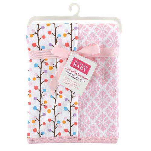 Hudson Baby 2 Piece Interlock Cotton Swaddle Blanket, Pink Budding Branches *** More details can be found by clicking on the image. #NurseryBedding