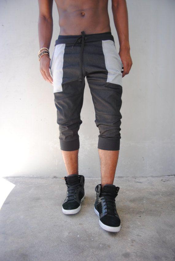 Negro Denim Jogger cortos / ligero / Shorts para hombre pantalones cortos para hombre Jogger / externa bolsillos / copia de bolsillo / hecho a mano hilos de GAG