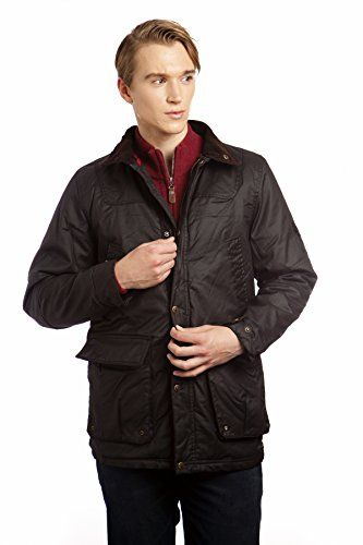 VEDONEIRE Mens Wax Jacket (3053 BROWN) padded waxed coat winter