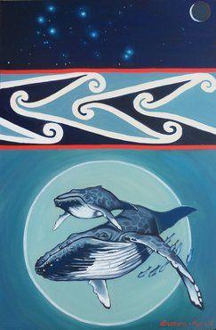 """""""Ka kitea a Matariki""""  It's nice to see the artist has the correct orientation of Matariki - very rare indeed."""