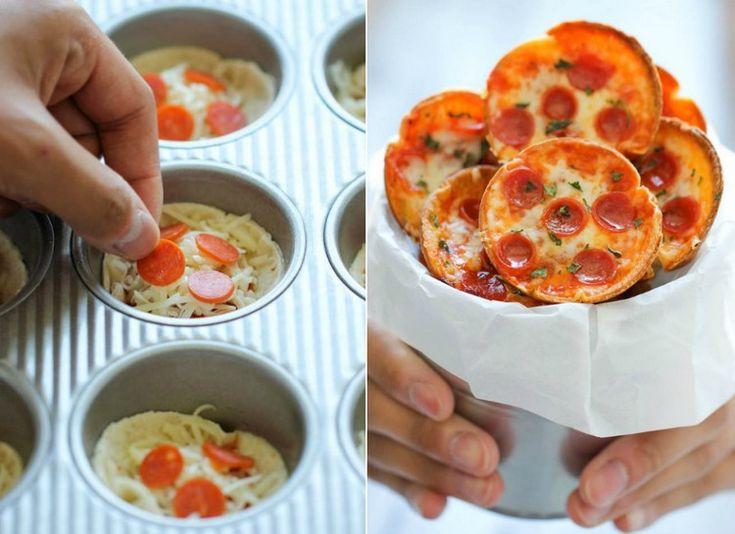 Fingerfood für Kindergeburtstag Herzhaft-Mini-Pizzen-Muffinform  – Kindergeburtstag