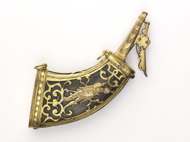 Powder flask, horn, mounted in openwork with engraved gilt brass, Germany, dated 1603