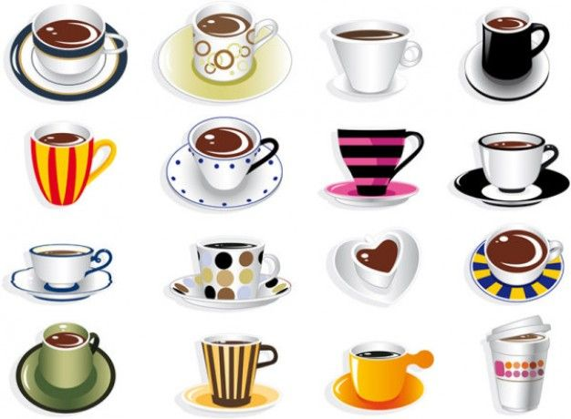 cute mug clipart. 3 sets with different vector coffee design elements (coffee labels, card templates, cups, beans) for your graphic works (can be used menu cute mug clipart