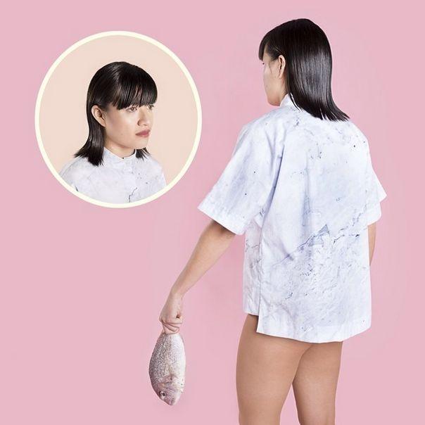 Becky Sui Zen wearing PER—TIM Lounge Shirt in Rejuvenation print shot by Phebe Schmidt