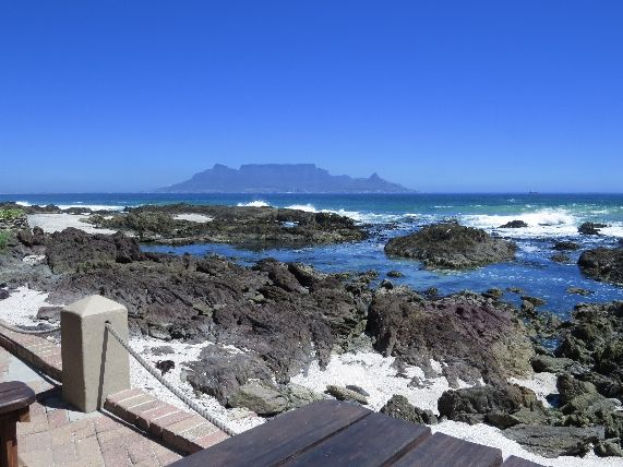 Table Mountain as seen from On the Rocks Restaurant, Bloubergstrand