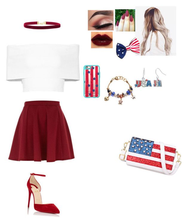 """""""Happy 4 of July 🇺🇸"""" by unicornchaby ❤ liked on Polyvore featuring Christian Louboutin, Casetify, Chicnova Fashion, Kim Rogers, River Island, Rosetta Getty and Janis"""