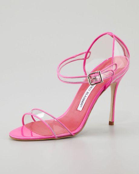 Manolo Blahnik Fersen Seethrough Mary Jane Sandal Pink in Pink