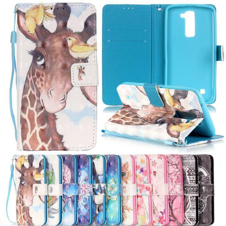 Coque LG K7 Case Flip Leather Wallet Case LG K7 Phone Cases 3D Painted Cute Cartoon Anime Flower Wallet Flip Cover LG K7 x210#lg k7 phone cases