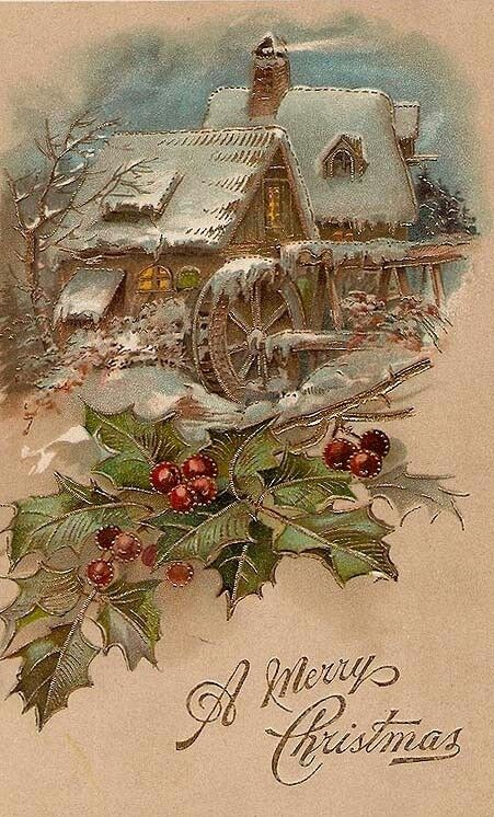 The Old Mill vintage Christmas postcard / greeting card snow scene with holly and berries.