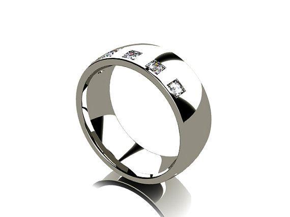 Lovely  Titanium ring diamond ring mens diamond band wide ring mens wedding