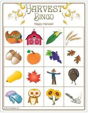 Harvest Picture Bingo - harvest party game for the kids. (This could be one of the games we play)