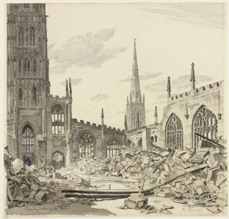 Coventry Cathedral: November 1940, by Randolph Schwabe  Coventry, an important engineering and armaments-producing centre, was raided on 14-15 November 1940. German bombers dropped 503 tons of high explosive & 881 incendiary canisters (containing 30,000 bombs) on the city. 554 people were killed & 850 seriously injured. The medieval Cathedral was gutted by fire. Only its walls & spire remained standing. A new verb – 'to Coventrate' - was used by the Germans to describe the level of…