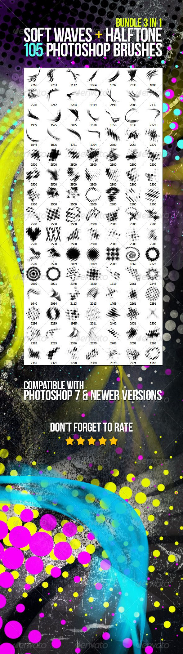 105 Soft Waves + Halftone Photoshop Brushes Bundle #GraphicRiver 105 high resolution brushes (resolution up to 2500px) for Adobe Photoshop – 25 abstract soft