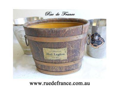 ANTIQUE / VINTAGE FRENCH OAK -BRASS CHAMPAGNE - WINE BUCKET
