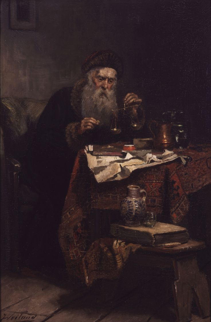"""Alchemist with Scale"" Johannes Weiland (Vlaardingen 1856–1909 The Hague) Oil on canvas, mounted on board"