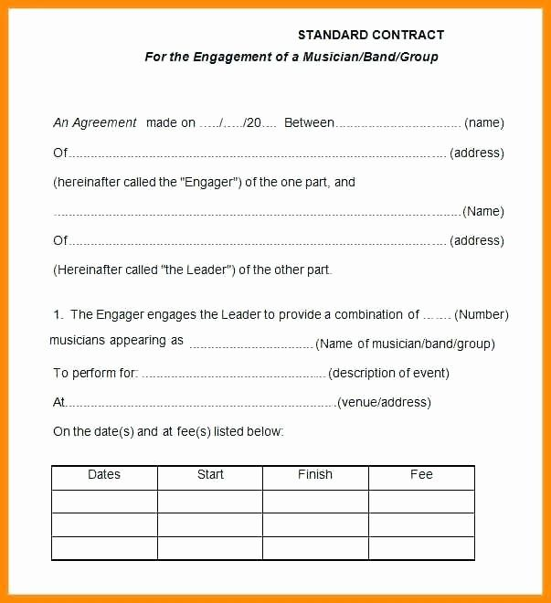 Wedding Band Contract Template In 2020 Contract Template Letter