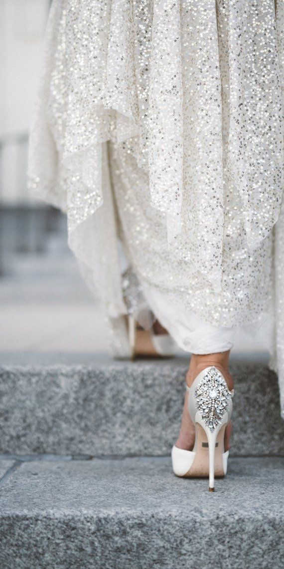 Bejeweled by these stunning Badgley Mischka Kiara Embellished Peep-toe Pump Wedding shoes || Aisle Perfect