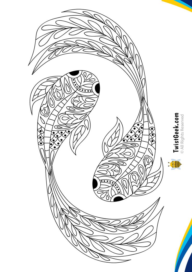 Mandala Butterfly Koi Fish Coloring Pages - TwistGeek in ...