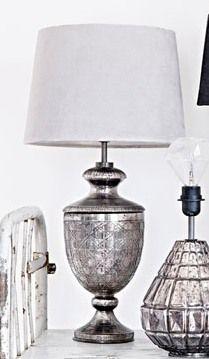 Bordslampa zinkfärg glas 43 cm - Olsson & Jensen