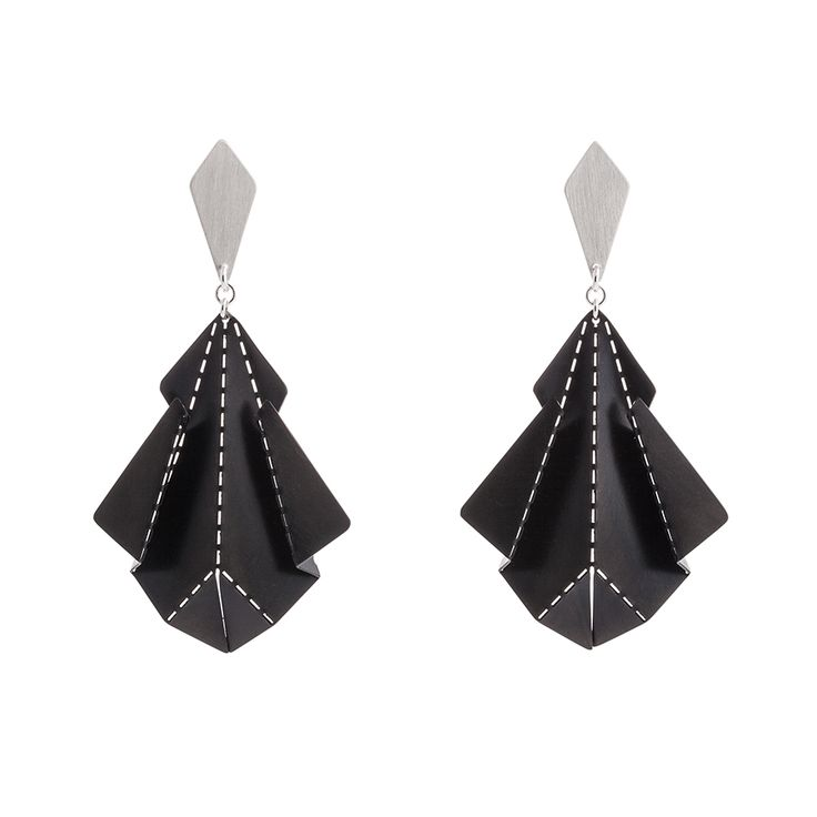Hand crafted earrings made of matte silver and black stainless steel.