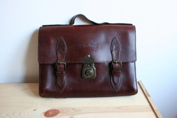 Vintage brown mens leather bag messenger bag by TaylorGirlsShop